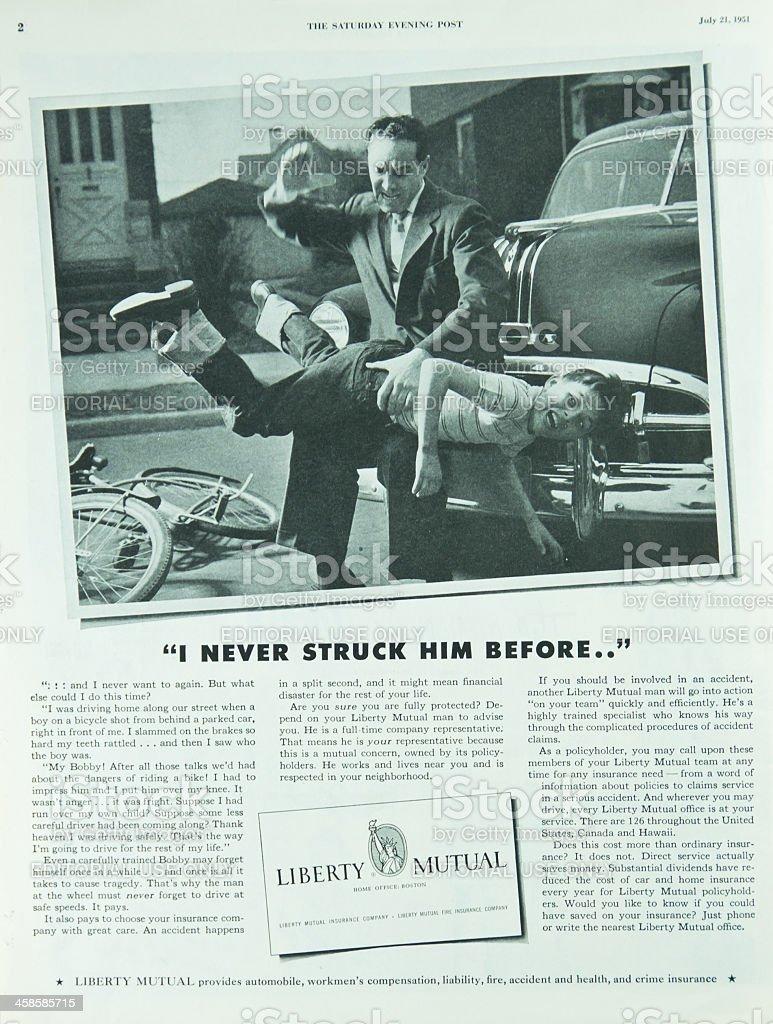 Saturday Evening Post Magazine Insurance Ad stock photo
