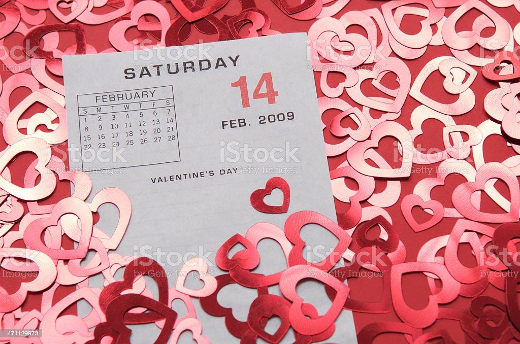 Saturday Feb 14 2009 Calendar w Hearts stock photo