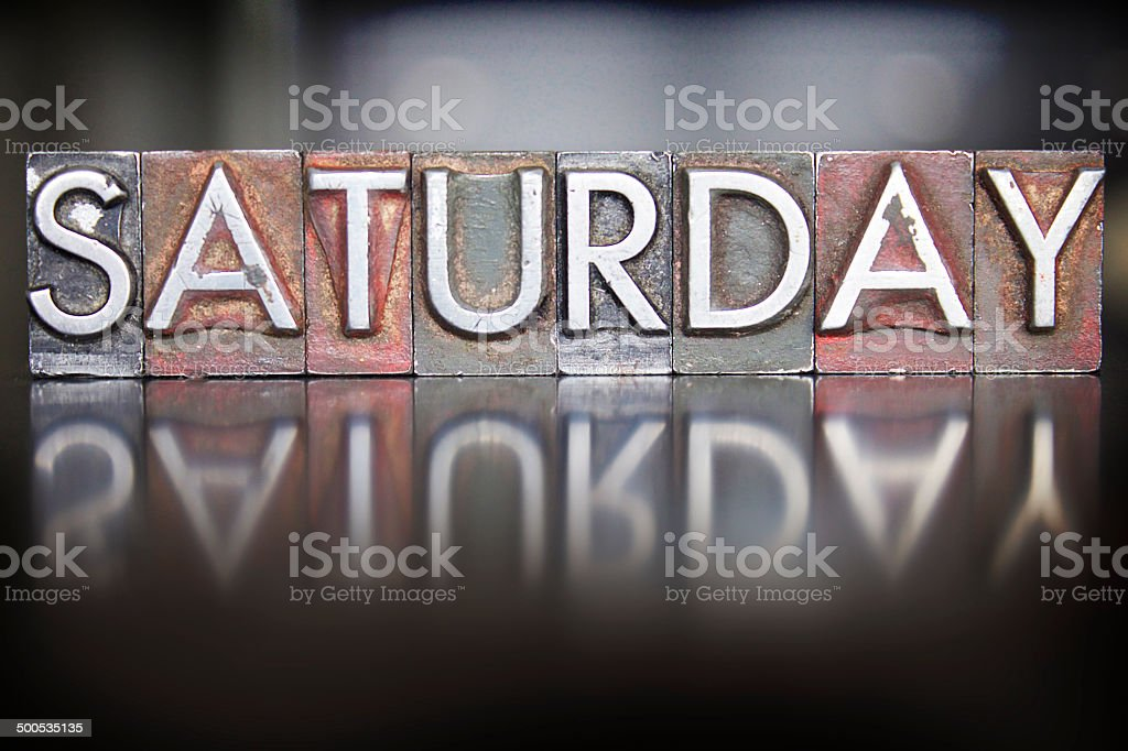 Saturday Letterpress stock photo