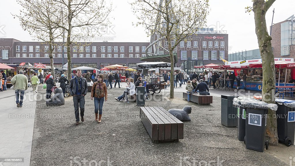Saturday market downtown Enschede stock photo