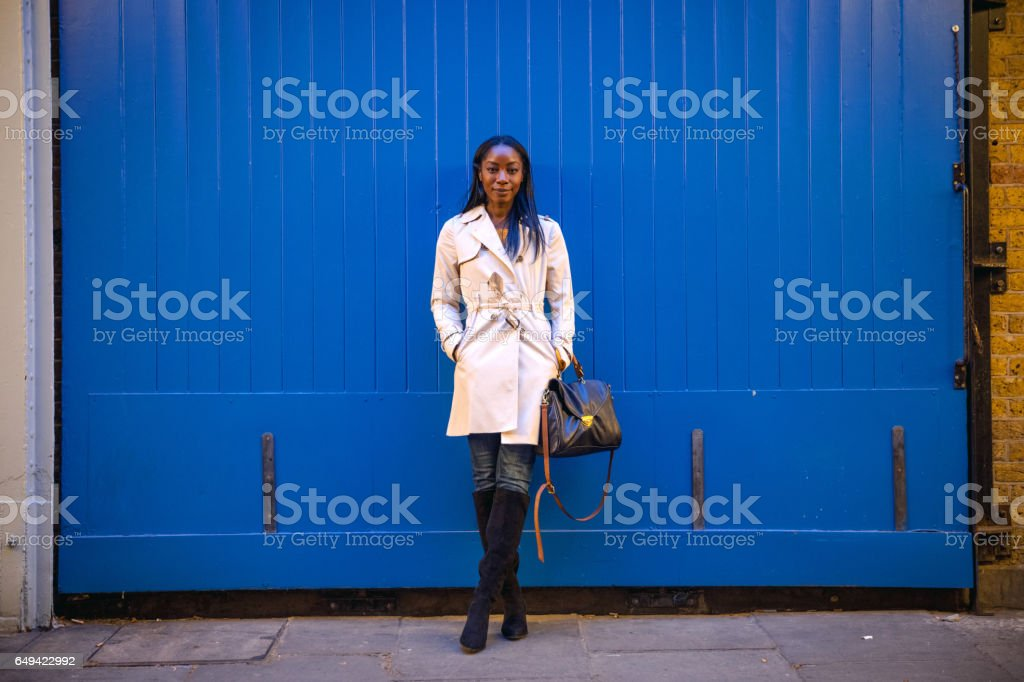 Saturday night in London, woman in the city stock photo