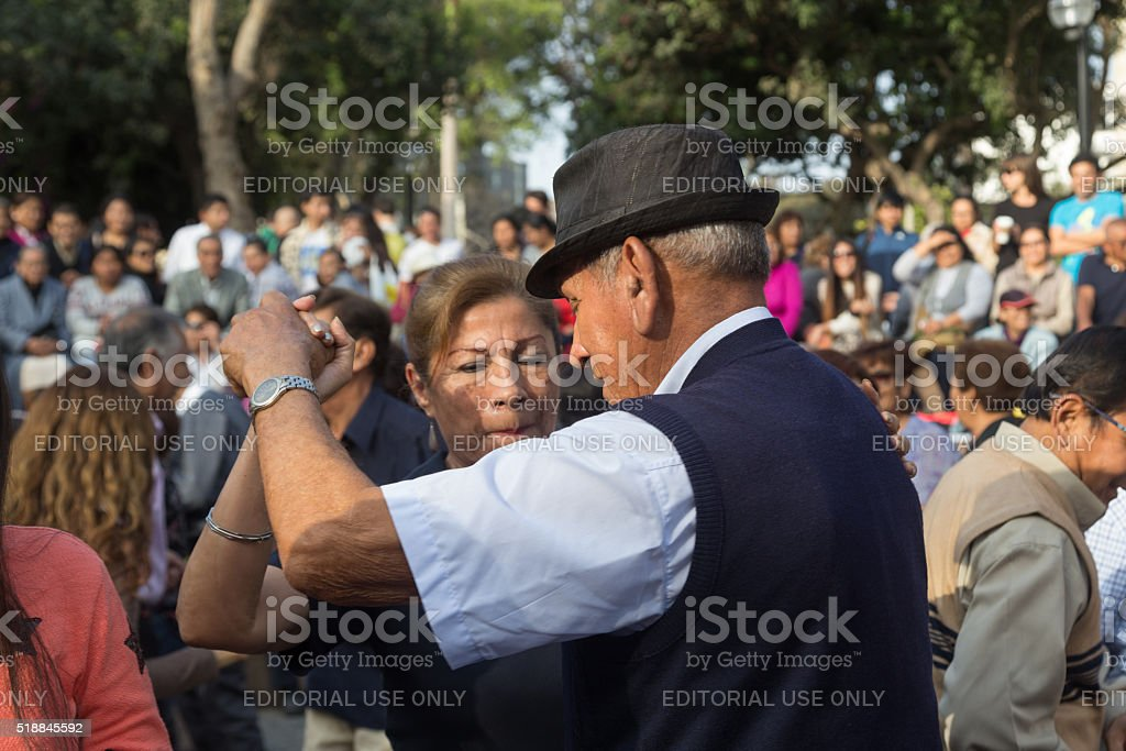 Saturday Salsa dancing in Parque Kennedy, Miraflores, Lima, Peru stock photo