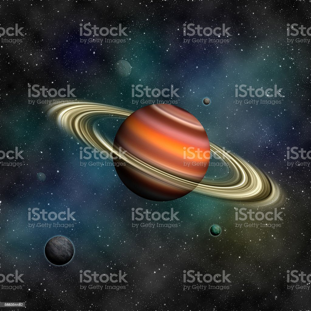 Saturn and other planets. stock photo