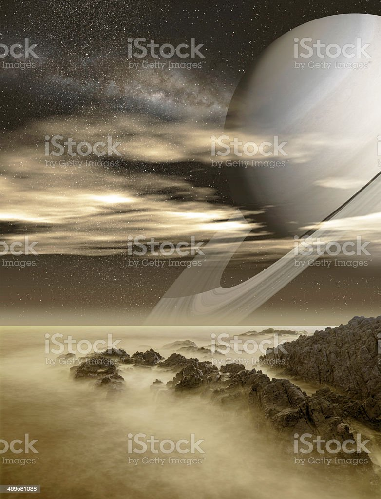 Saturn viewed from Titan moon stock photo