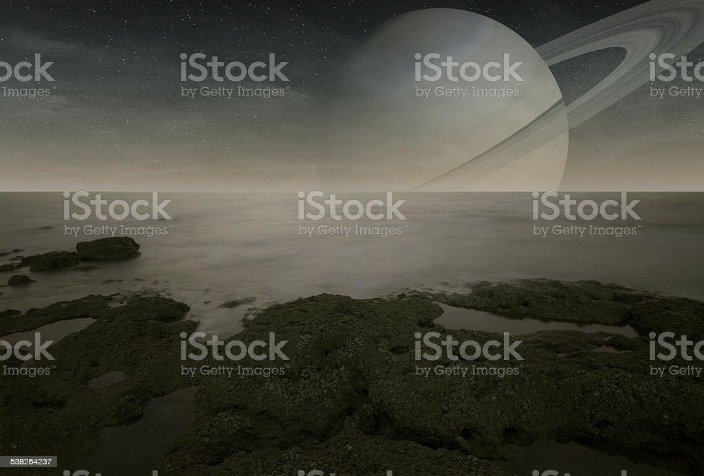 Saturn viewed from Titan moon stock photo