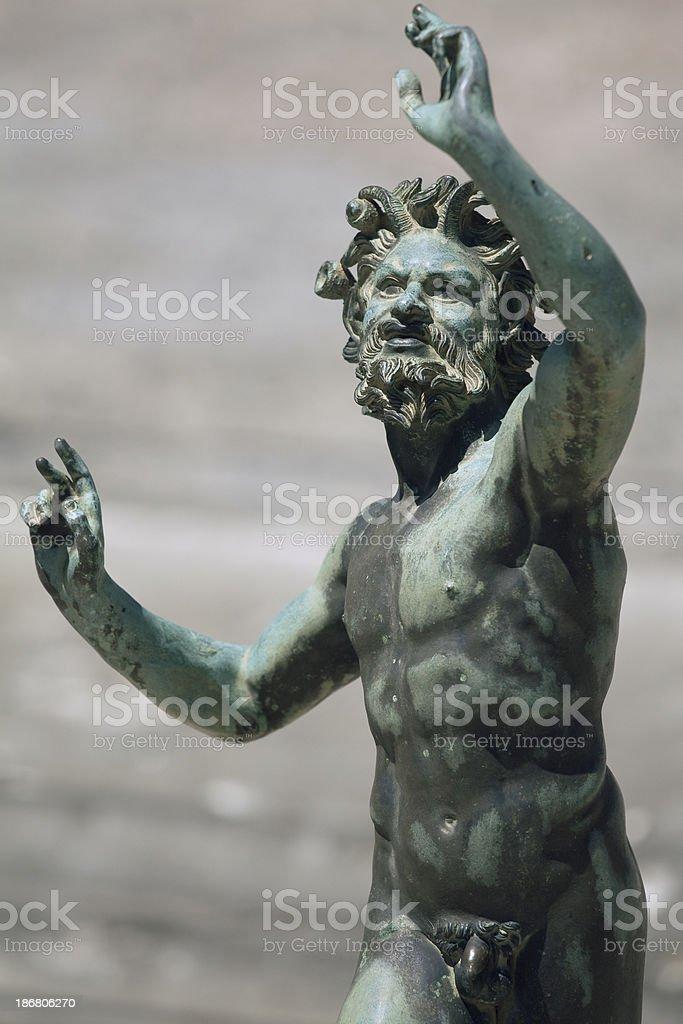 Satyr (Fauno) Bronze Statue in Pompeii, Italy stock photo