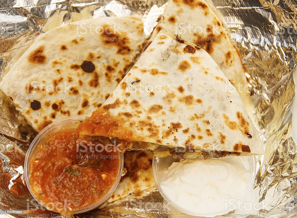 Sauce on Quesadillas with Sour Cream royalty-free stock photo
