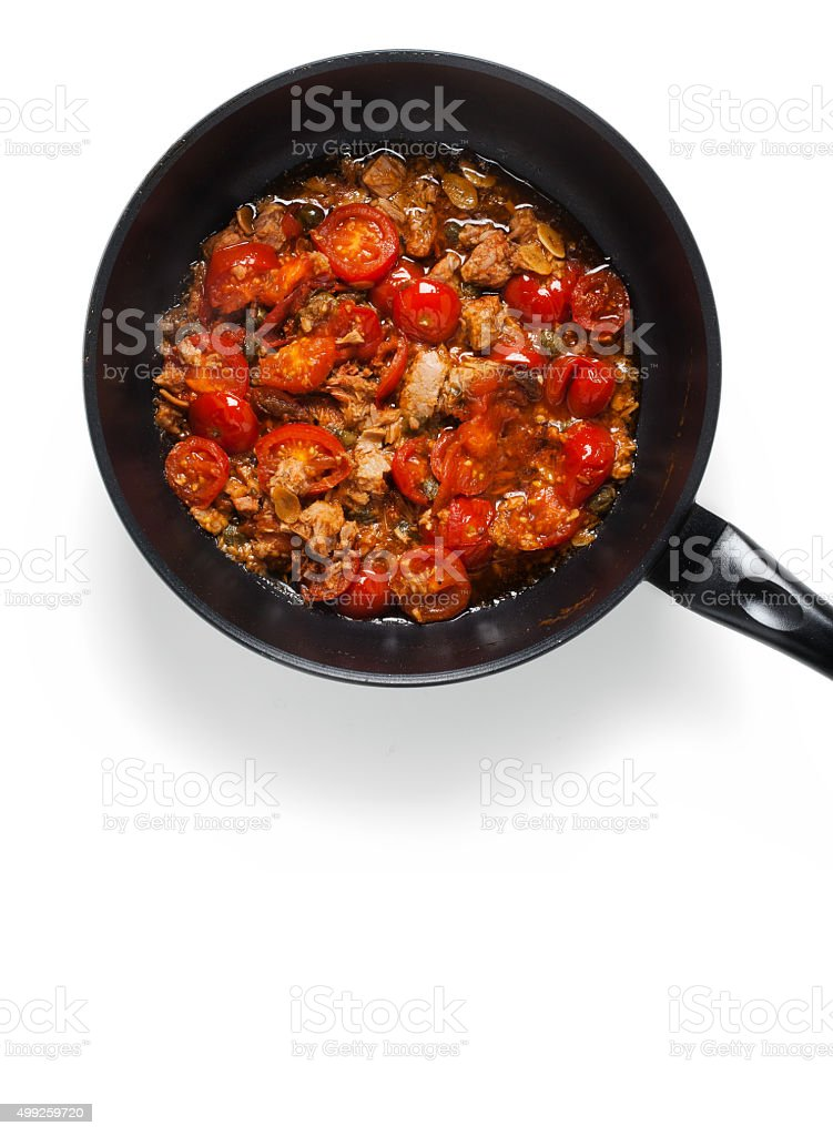 sauce with tuna, capers and cherry tomatoes. for cooking spaghet stock photo