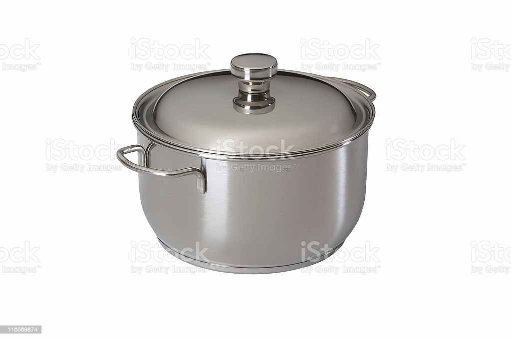saucepan from stainless steel royalty-free stock photo