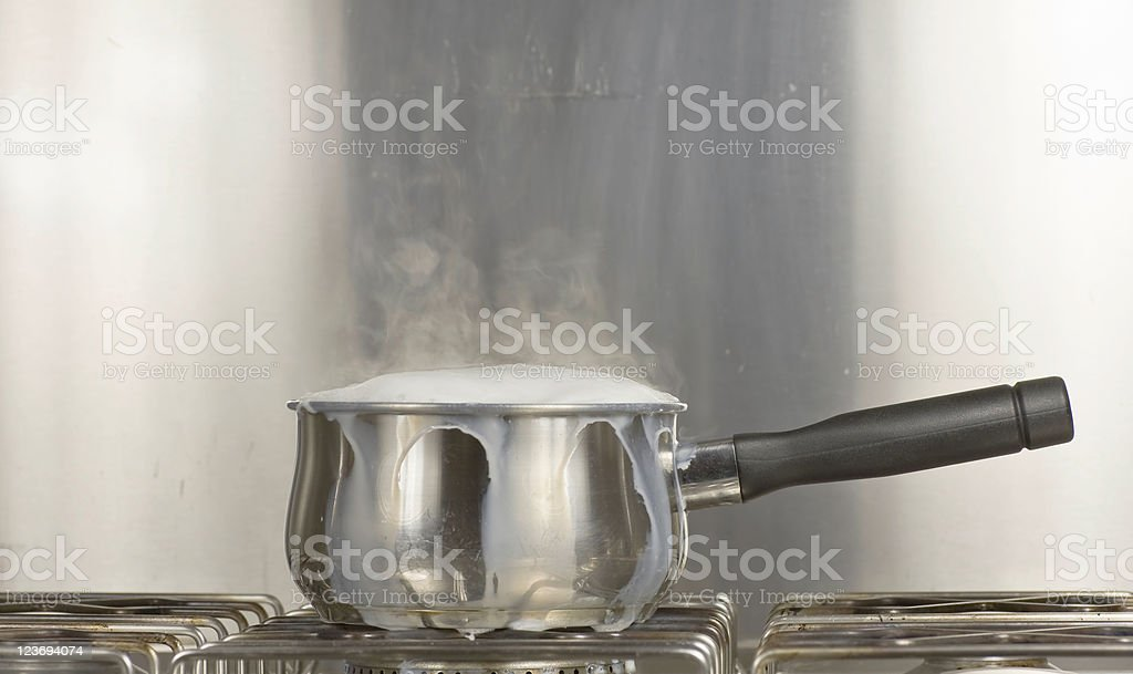 Saucepan Of Boiling Milk stock photo