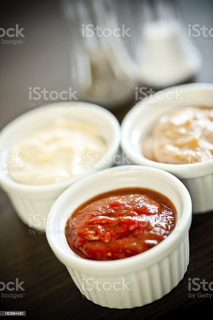 Sauces - colorful trio of dips royalty-free stock photo