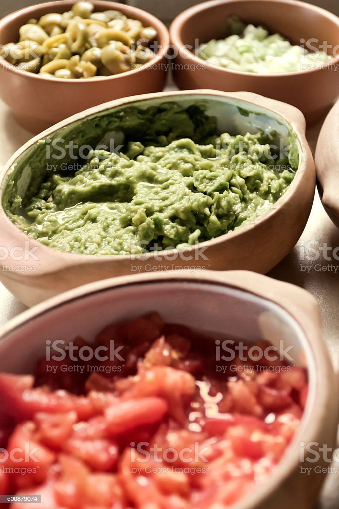 Sauces taco in bowls stock photo