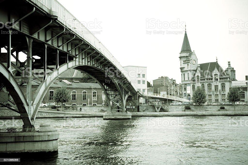 Saucy Footbridge, Liege, Belgium stock photo