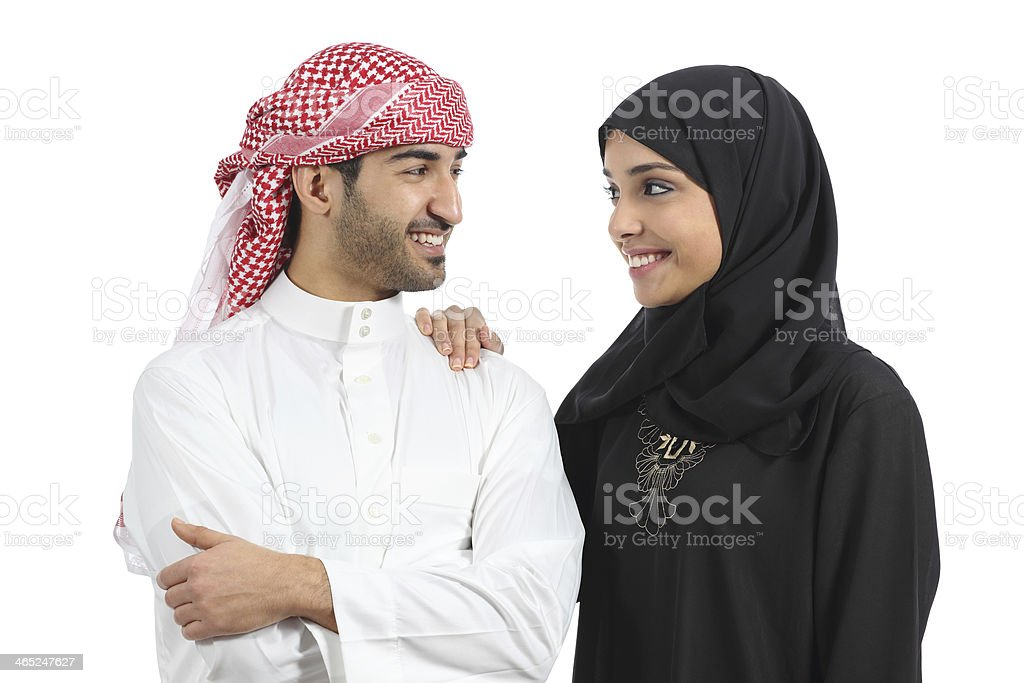 Saudi arab couple marriage looking with love royalty-free stock photo