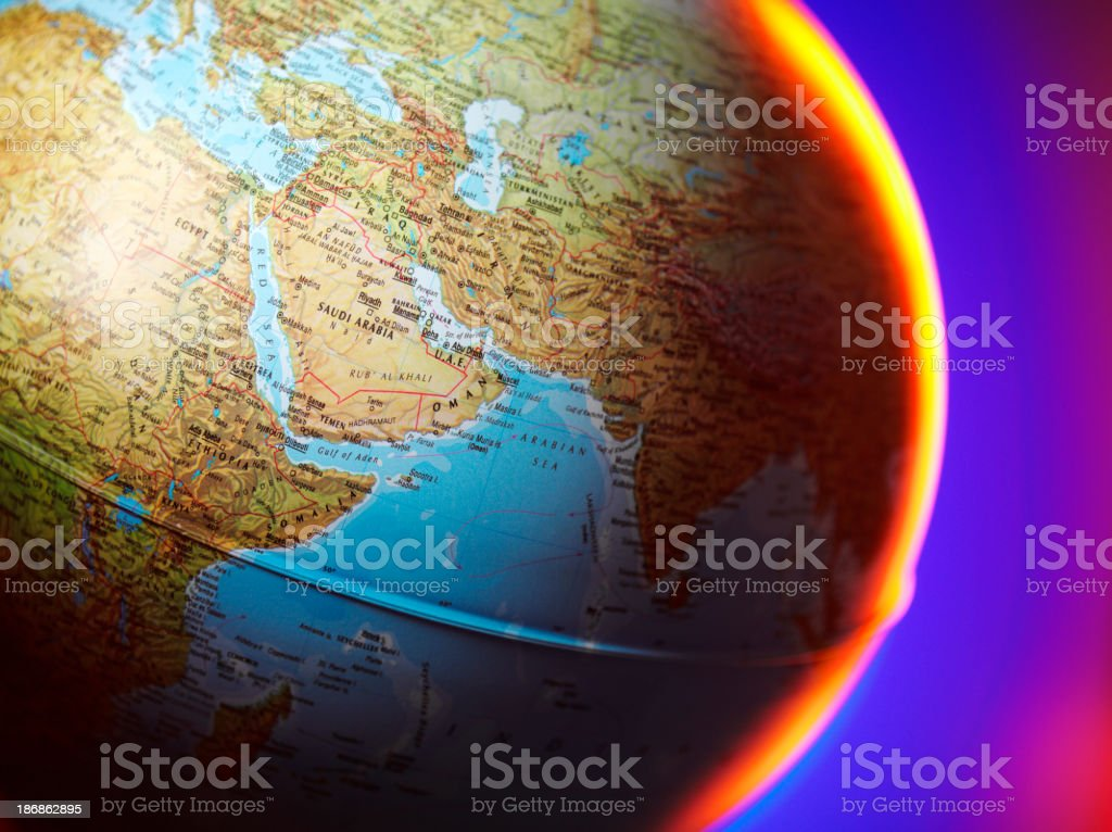 Saudi Arabia in the Middle East on a Globe royalty-free stock photo