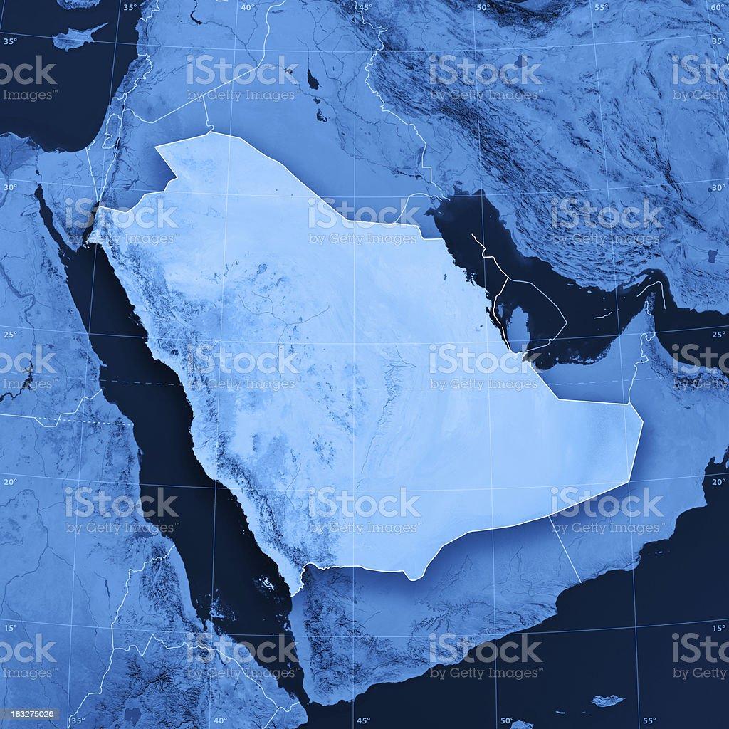 Saudi Arabia Topographic Map stock photo