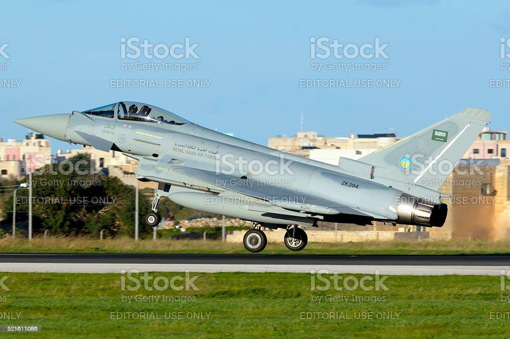 Saudi Arabian Air Force Typhoon on delivery flight stock photo