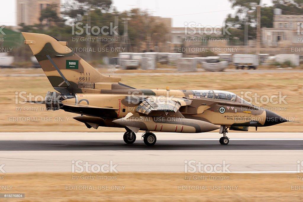 Saudi Arabian Tornado braking after landing stock photo