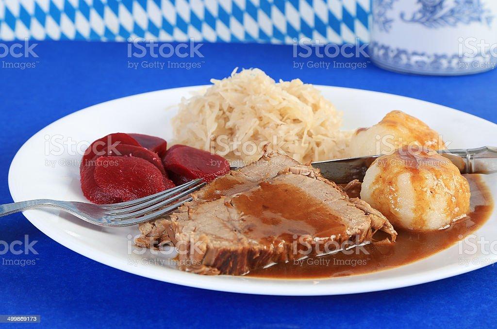 Sauerbraten with Kartoffelklosse stock photo