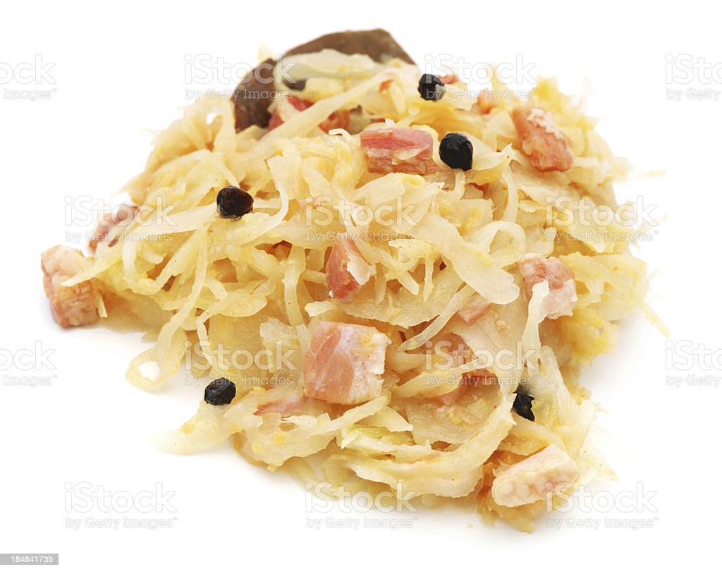 Sauerkraut whit bacon pile isolated on white royalty-free stock photo
