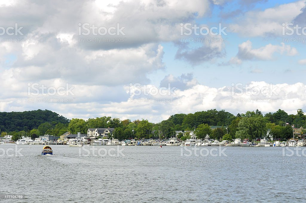 Saugatuck shoreline stock photo