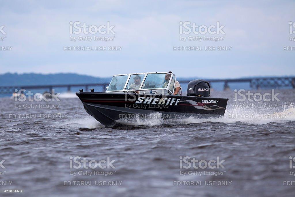 Sauk County Sheriff's Patrol Boat royalty-free stock photo