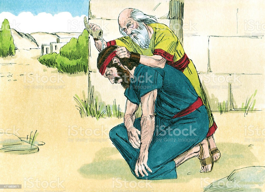 Saul Annointed as King stock photo