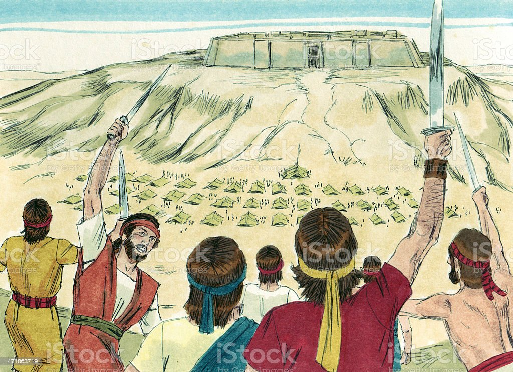 Saul --David Defeats Philistines stock photo