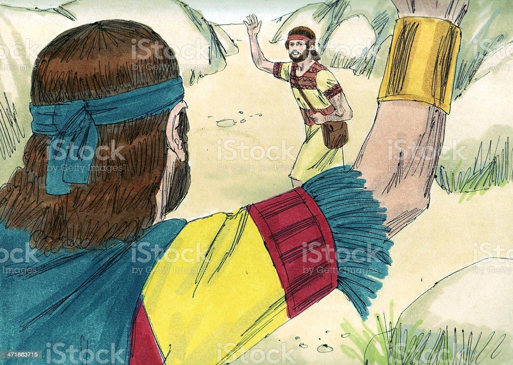 Saul--David and Jonathan Part Ways stock photo