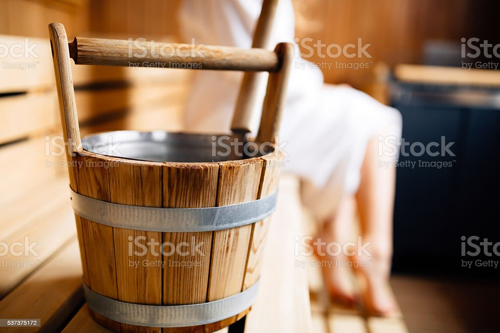 Sauna bucket stock photo