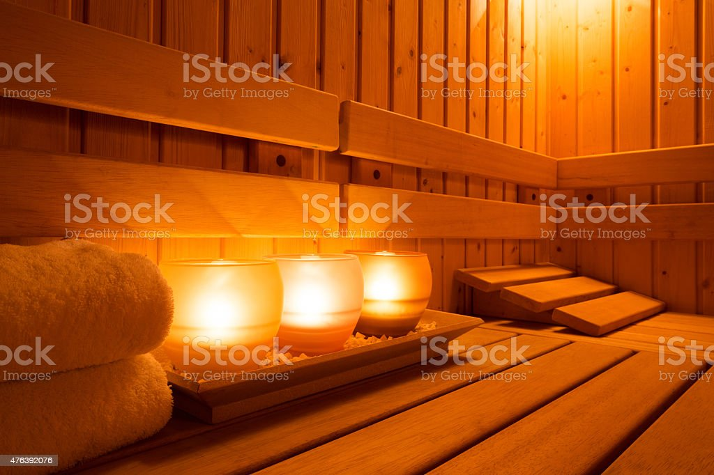 Sauna equipment stock photo