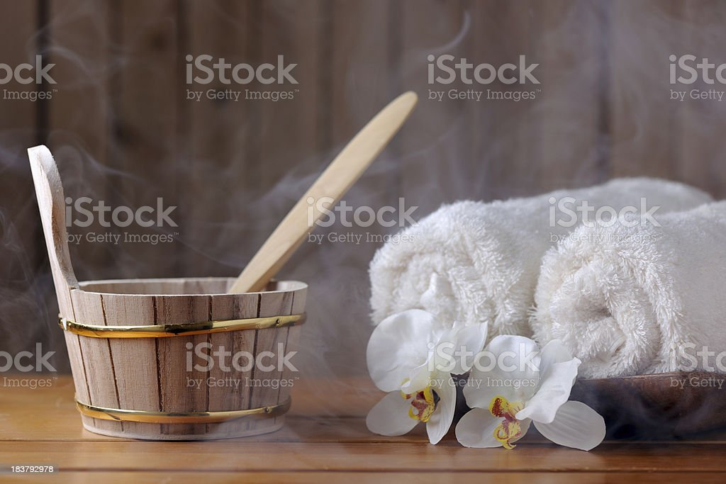 Sauna equipment with steam stock photo