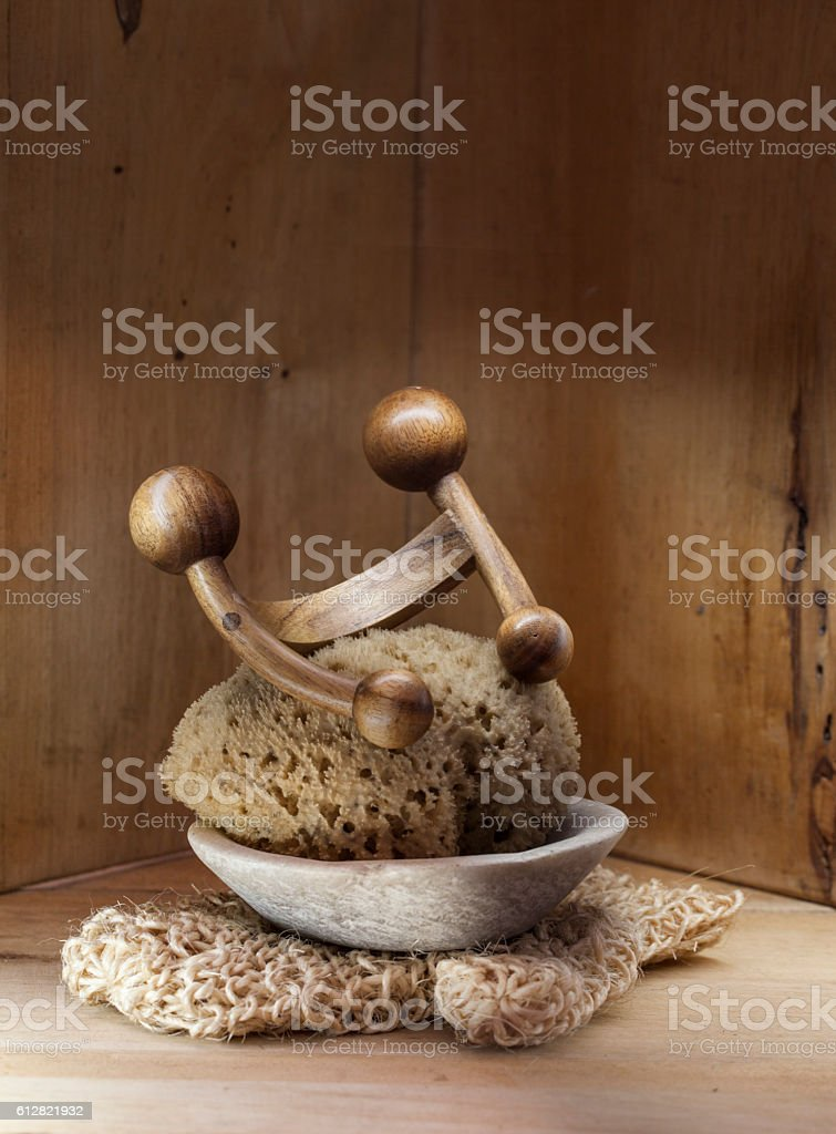 Sauna, hammam or Turkish bath wooden background with genuine loofah stock photo