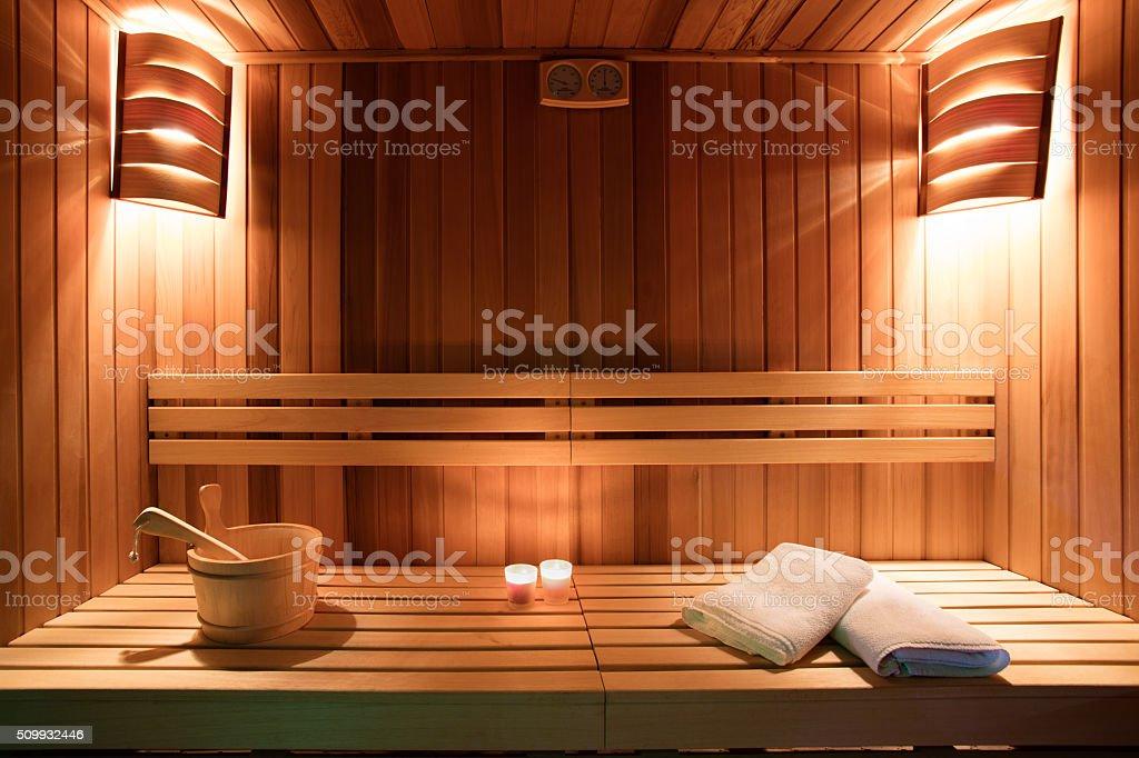 Sauna interior stock photo