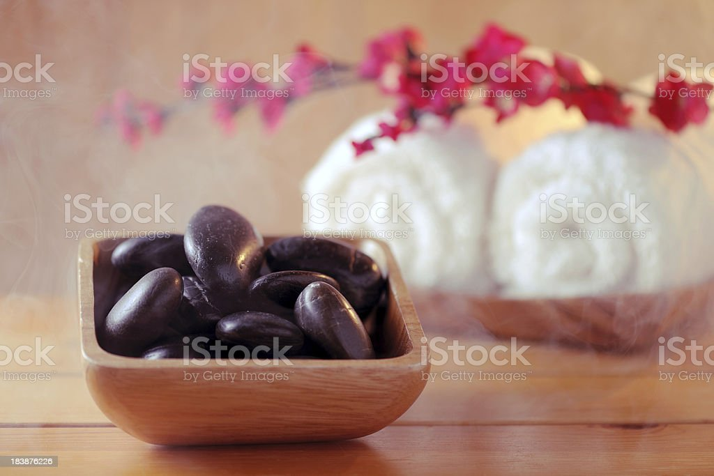 Sauna stones with steam royalty-free stock photo