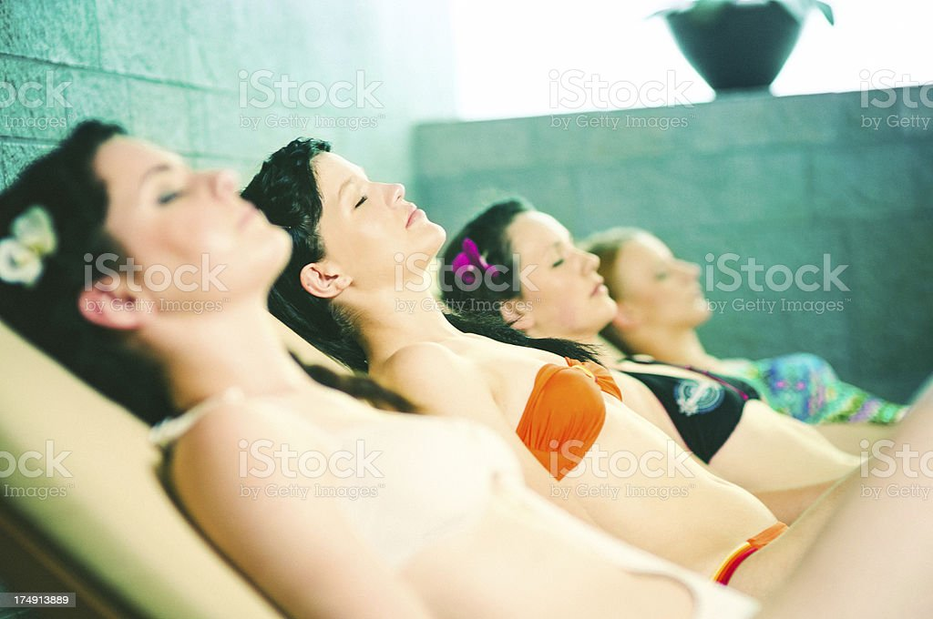 Sauna with friends royalty-free stock photo