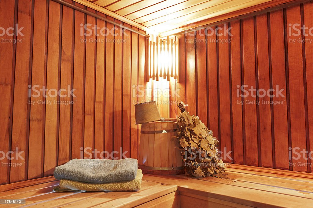 Sauna with ready accessories for washing stock photo