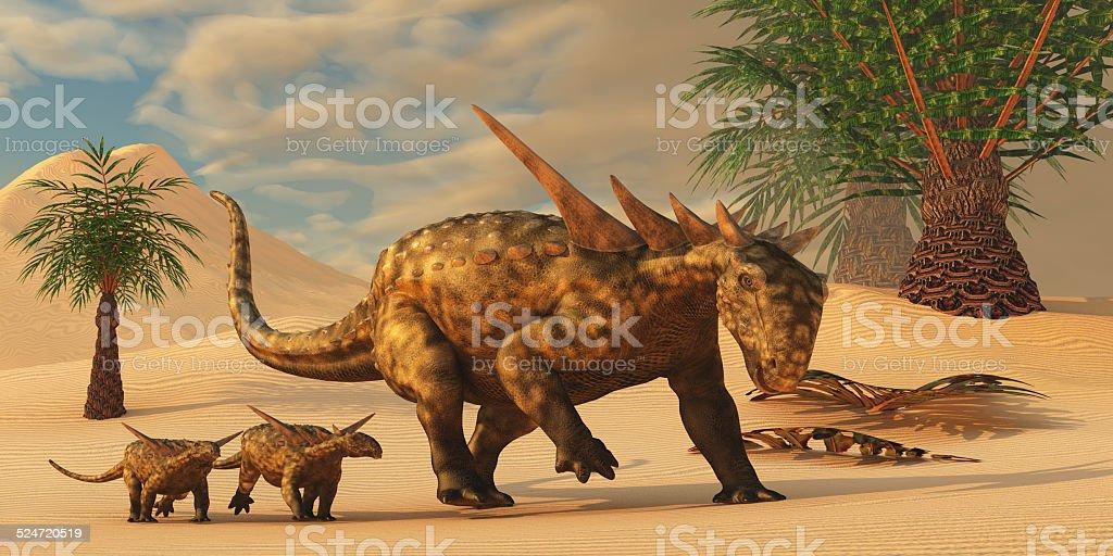Sauropelta Dinosaur in Desert stock photo