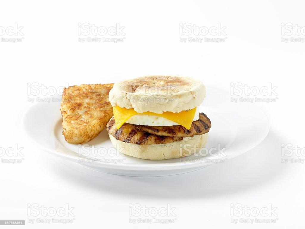 Sausage & Egg, English Muffin Breakfast Sandwich royalty-free stock photo