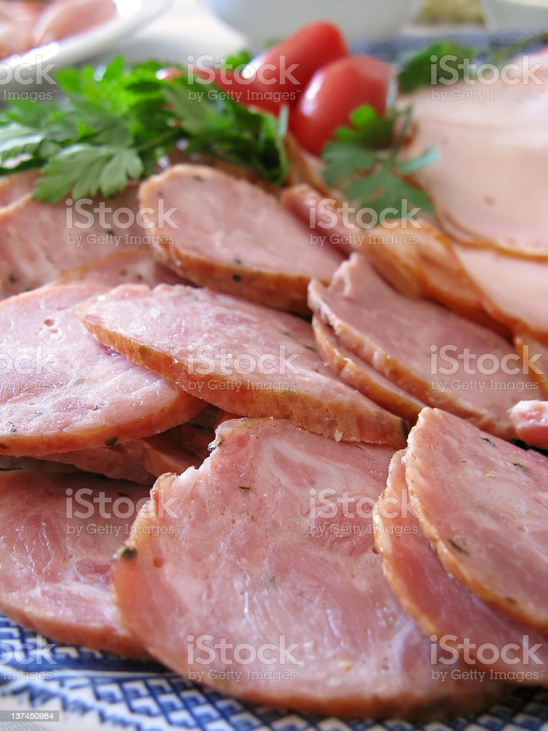 Sausage & ham plate royalty-free stock photo