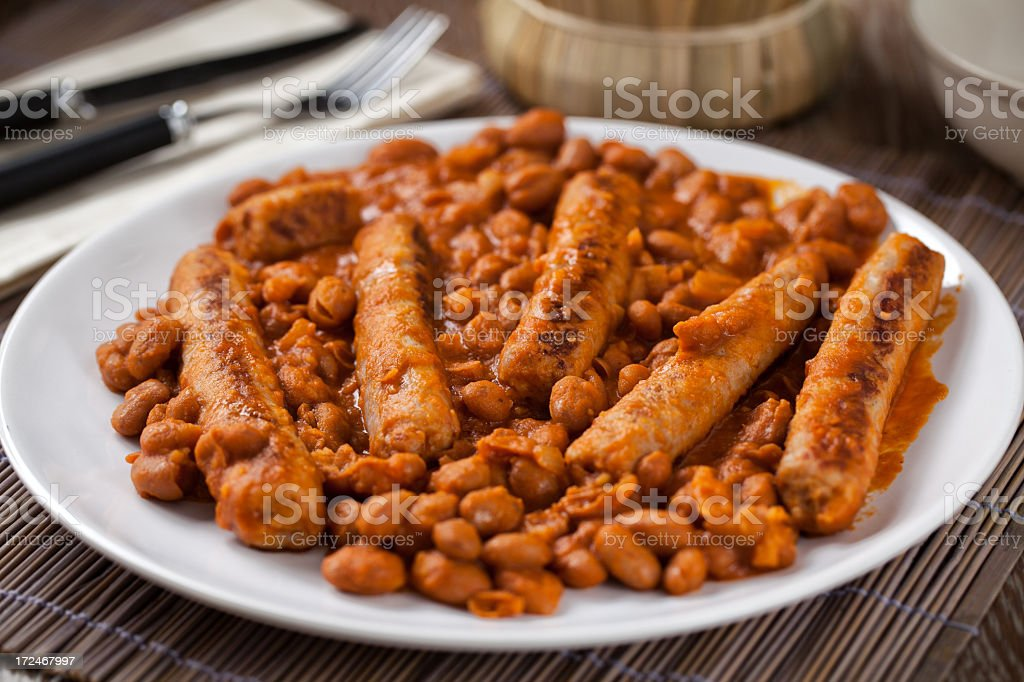 Sausage and Beans royalty-free stock photo