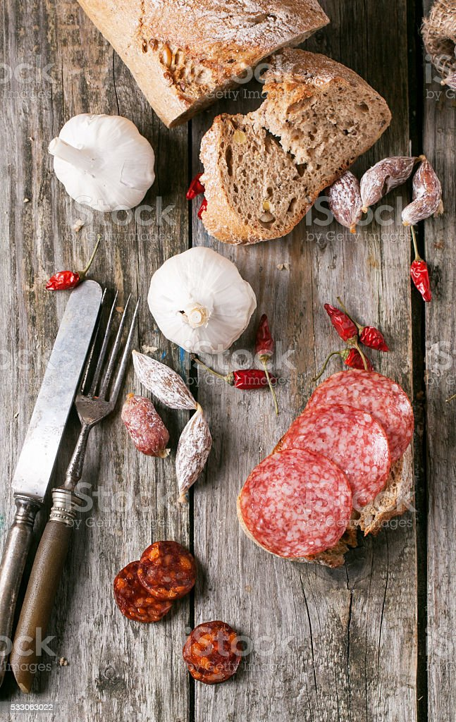 Sausage and bread stock photo