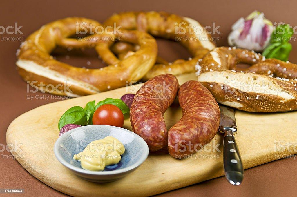 Sausage and Bretzel stock photo