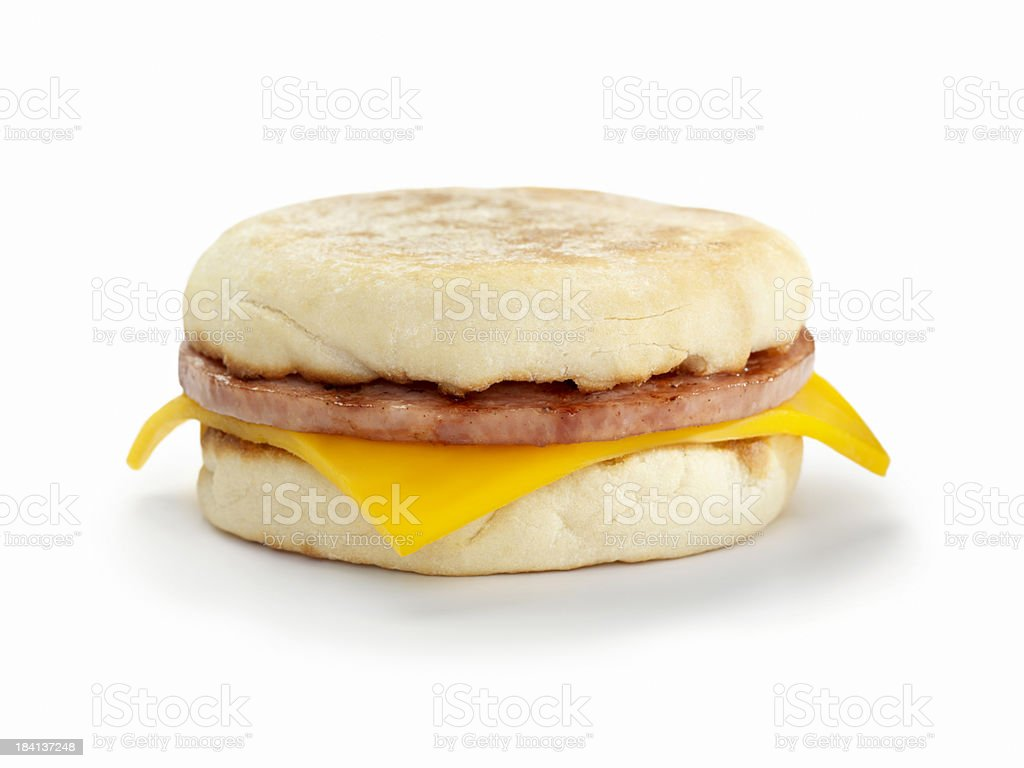 Sausage and Cheese Breakfast Sandwich stock photo