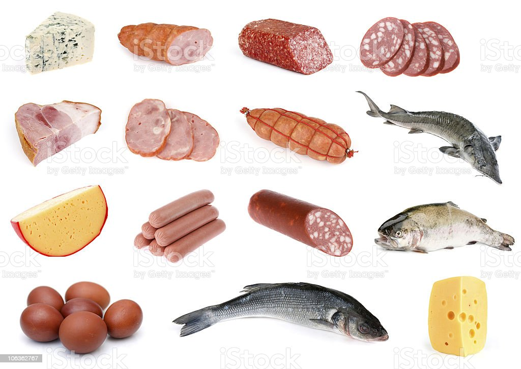 sausage and cheese collection royalty-free stock photo