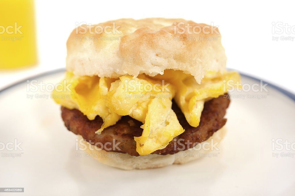 Sausage and Egg Biscuit stock photo