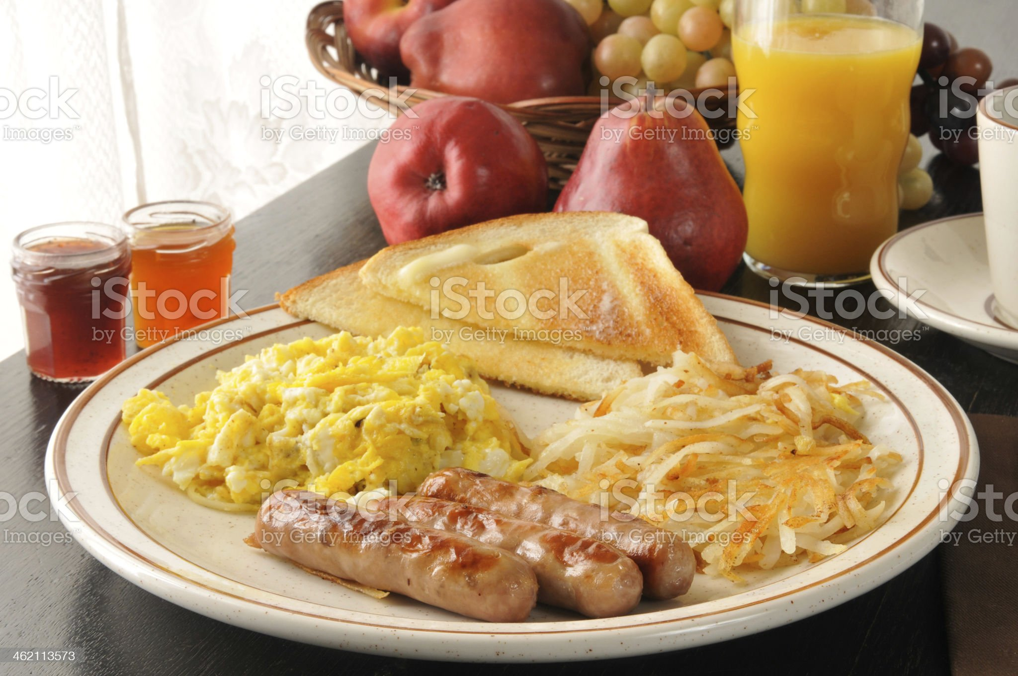 Sausage and egg breakfast royalty-free stock photo