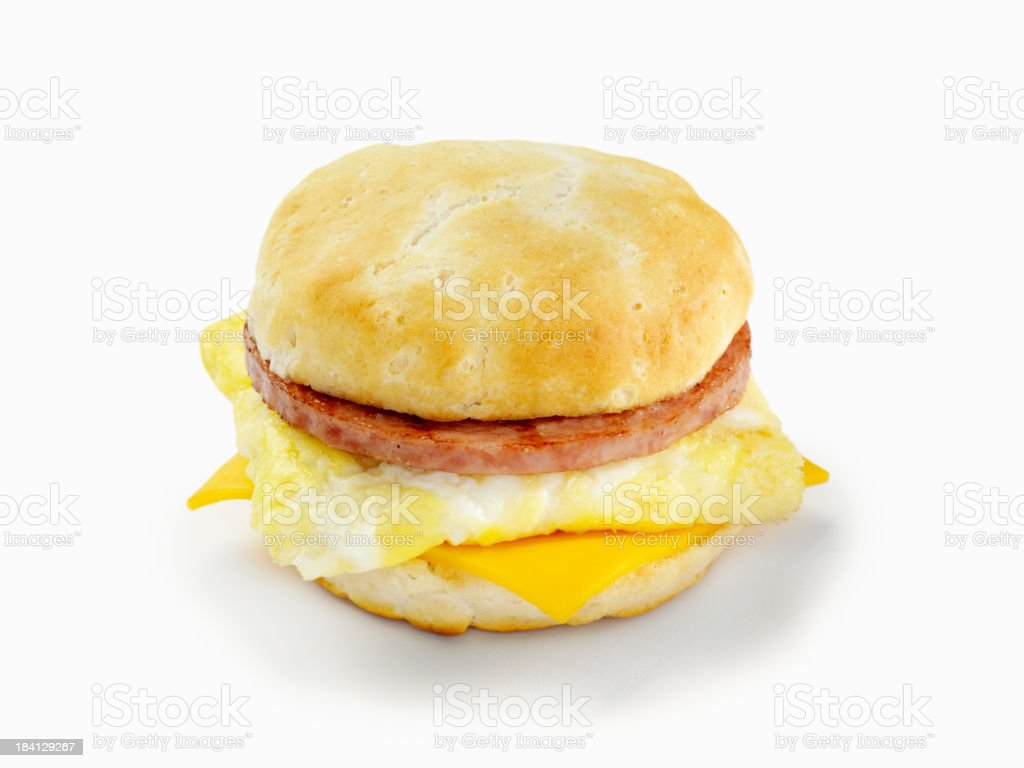 Sausage and Egg Breakfast Sandwich royalty-free stock photo