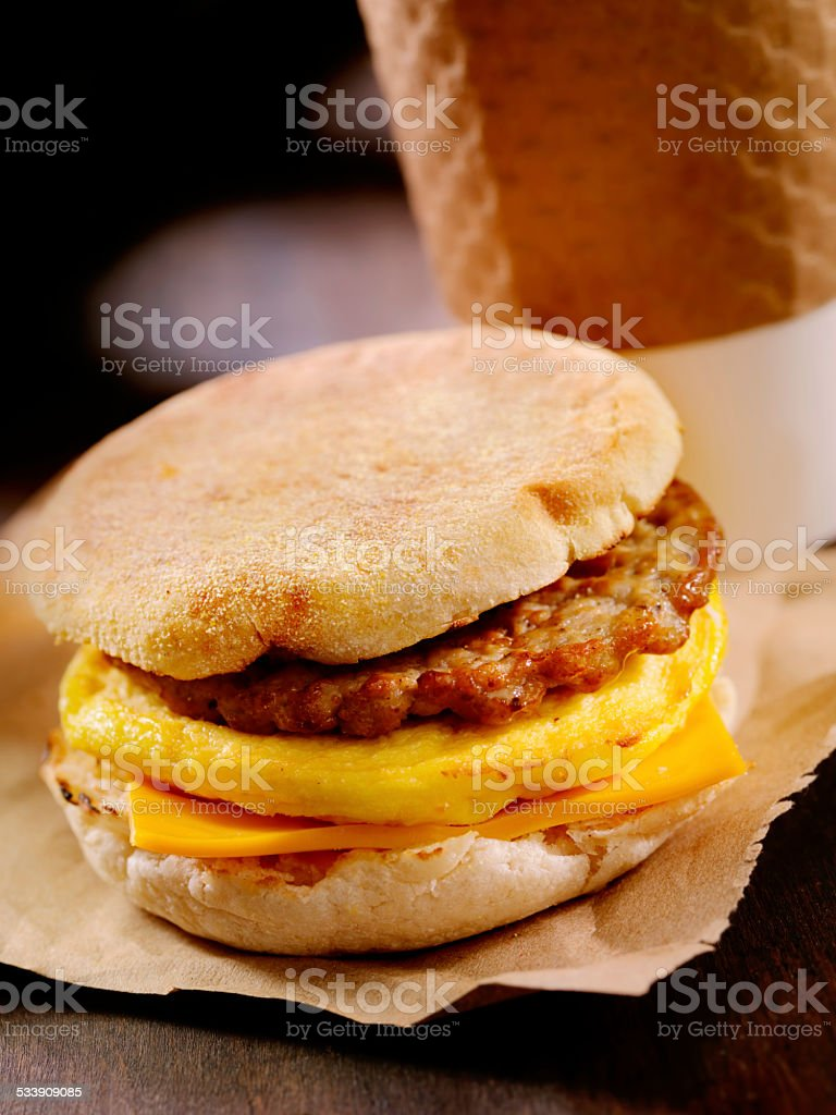 Sausage and Egg Breakfast Sandwich stock photo