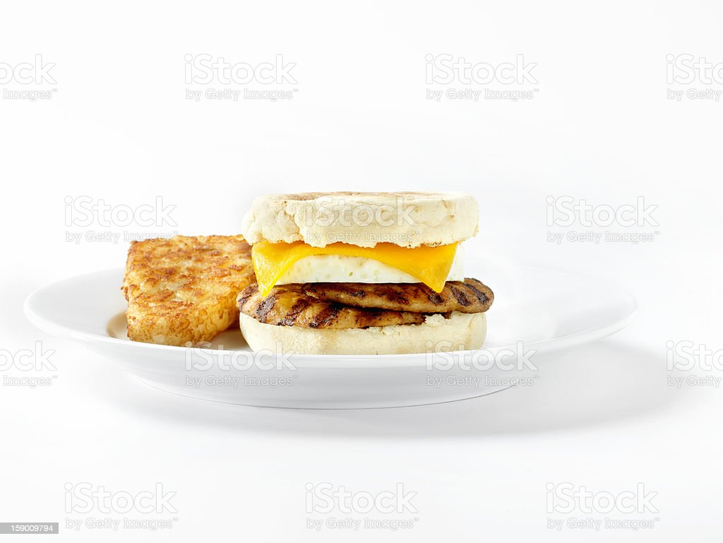 Sausage and Egg, English Muffin Breakfast Sandwich royalty-free stock photo